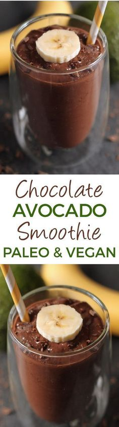 This healthy chocolate avocado smoothie is super quick, simple and ultra creamy! Doesn't taste a bit like avocados and can also be made as pudding {naturally gluten-free, paleo, with vegan and dairy-free options – please click through to the recipe to see the dietary-friendly options}