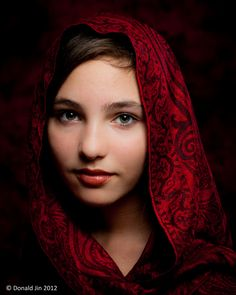 Girl with a Red Scarf; photograph by Donald Jin