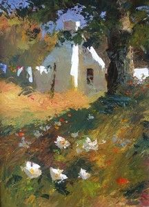 House With Flowers In Woods - Tony De Freitas Drawing Sketches, Drawings, Sketching, Laundry Art, Upcoming Artists, South African Artists, Chiaroscuro, Watercolor Landscape, Illustration Art