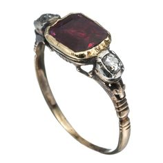1820's 14K Gold with Ruby and Diamond Ring::Antique Jewelry::Featured::Alexis Bittar