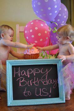 Happy Birthday to Us!  Twins 1st cake smashing.