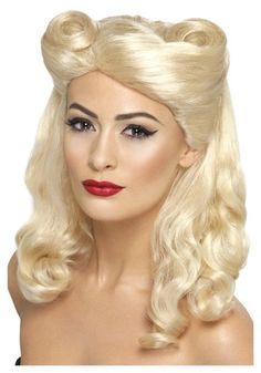 40's Blonde Pin Up Wig Vendor: Halloweencostumes.com URL:http://www.halloweencostumes.com/40s-blonde-pin-up-wig.html?PCID=21&utm_source=googleps&utm_medium=PPC&utm_campaign=PLA-All&gclid=CPjjm4bagbsCFe5j7AodIhAAEg Price: $28.99
