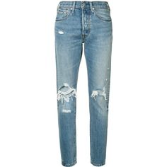 Levi's distressed high-rise jeans found on Polyvore featuring jeans, pants, bottoms, pantalones, calças, blue, distressing jeans, highwaist jeans, torn jeans and destruction jeans