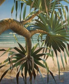 Pandanus by Mark Waller Seascape Paintings, Landscape Paintings, Tropical Paintings, Acrylic Painting Canvas, Canvas Art, Hawaiian Art, Nature Scenes, Ocean Scenes, Tropical Art