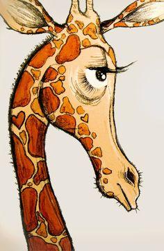 Giraffe Art Print by Tara Put Giraffe Drawing, Giraffe Painting, Giraffe Art, Animal Paintings, Animal Drawings, Art Drawings, Afrique Art, Dibujos Cute, Whimsical Art