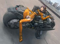 future girl, futuristic vehicle, anime, sexy comic girl, cyberpunk, motorbike, digital art, sci-fi, futuristic suit, science fiction, future japan, futuristic clothing, futuristic motorcycle, concept bike