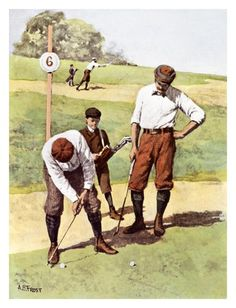 Golf School Art Print: Stymied by Arthur Burdett Frost : - Golf Knickers, Golf Images, Golf Art, Vintage Golf, Sports Art, Figurative Art, Vintage Prints, Vignettes, Find Art