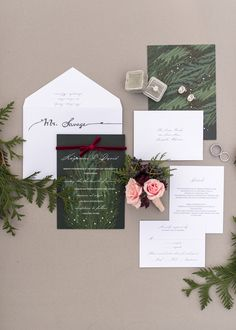 winter wedding invitations - photo by Sweet Root Village http://ruffledblog.com/berry-toned-wedding-at-terrain