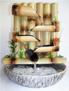 DIY Tabletop Fountain id ias Bamboo Water Fountain, Tabletop Water Fountain, Indoor Water Fountains, Indoor Fountain, Bamboo Planter, Bamboo Lamp, Bamboo Crafts, Bamboo Design, Bamboo Furniture