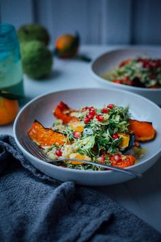 salty maple squash w/ ginger scallion rice + turmeric brussels slaw // @thefirstmess