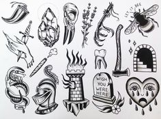 tattoo flash by Lindsey Morehead at Donovan's Autumn Moon Tattoo.