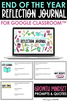 The end of the year is the perfect time for your students to reflect! Using this digital journal in Google Classroom™, they will reflect on the past school year by answering questions about goals they have reached, challenges they have encountered, and things they have learned. Each Google Slide™ includes a growth mindset mantra and 3-4 questions. Perfect for distance learning! Digital Journal, End Of School Year, Google Classroom, Elementary Teacher, Growth Mindset, Teacher Newsletter, Special Education, Mantra, Distance