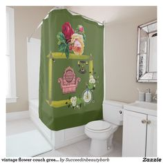 vintage flower couch green shower curtain