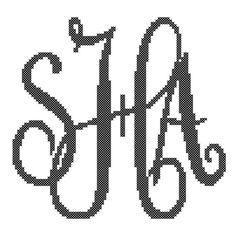 Custom Monogram Cross Stitch Elegant Style by oneofakindbabydesign