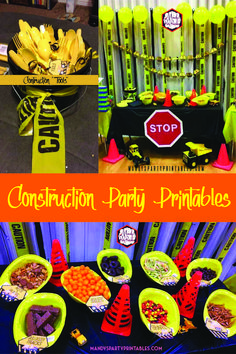 "Check out these FREE construction party printables for a birthday, baby shower, and more! Here at Mandy's Party Printables | Food Labels, ""Tools"" Labels, Dump Presents Here Sign and more! #constructionparty #freeprintables"