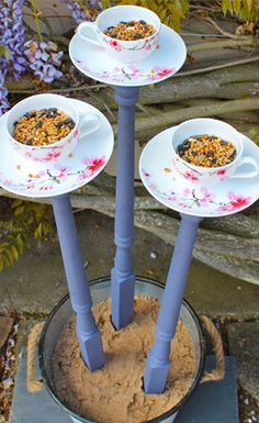 This easy DIY will show you how to make the most adorable bird feeders in no time! Read more: http://whoabella.com/whoabella-how-to-make-a-vintage-tea-cup-bird-feeder/