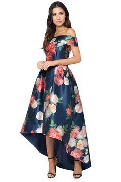 best=Her Charming Navy Satin Floral Off Shoulder Prom Dress Formal Gowns Girls Pageant Dresses, Prom Dresses, Formal Dresses, Midi Dresses, High Low Dresses, Floral High Low Dress, Teen Dresses, Ladies Dresses, Spring Dresses