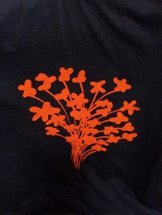 Red Jasmin on black bamboo Tshirt