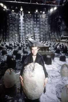 "H.R. Giger on the set of ""Alien"" (1979)"