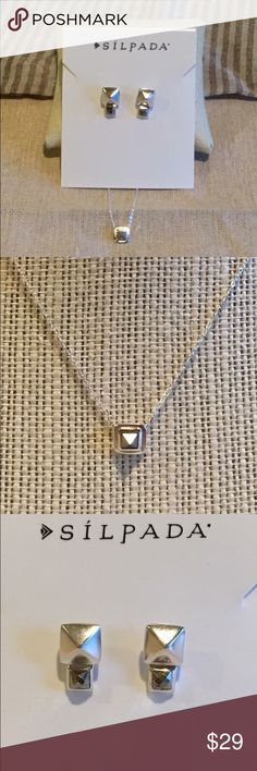 """Modern Pyramid Set This Sterling silver necklace and earring studs with pyrite stone are cute and tiny and perfect for the graduate!   Necklace is 16"""".   Studs are less than  1/2 """".   Comes as a set. Silpada Jewelry Earrings"""