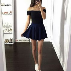 As much as I love pleated skirts and bodycon skirts, nothing is as comfortable as a simple circle/skater skirt like this one :p. Sweet 16 Outfits, Pretty Outfits, Pretty Dresses, Cool Outfits, Casual Outfits, Fashion Outfits, Ulzzang Fashion, Korean Fashion, Mode Kpop