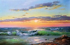 Ideas for landscape paintings beach Ocean Paintings On Canvas, Seascape Paintings, Watercolor Paintings, Ocean Art, Ocean Waves, Pictures To Paint, Art Pictures, Beautiful Paintings, Beautiful Landscapes