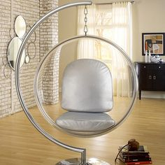 Eero Aarnio Indoor Bubble Chair Stand by LexMod Modern Chairs, Modern Furniture, Retro Chairs, Funky Chairs, Rattan Furniture, Furniture Decor, Bubble Chair, Silver Cushions, Ball Chair