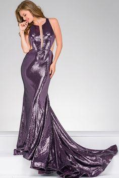 Eggplant Mermaid Sleeveless Prom Dress 45399