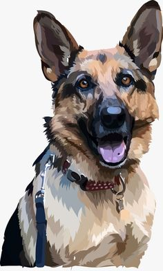 Old Film Posters, Photo To Art, Guache, Dog Illustration, Arte Pop, Wildlife Art, Dog Portraits, German Shepherd Dogs, Animal Paintings