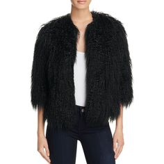 Theory Faux Fur Open-Front Jacket ($480) ❤ liked on Polyvore featuring outerwear, jackets, black, faux fur jacket, cropped jacket, fake fur jacket, theory jacket and party jackets