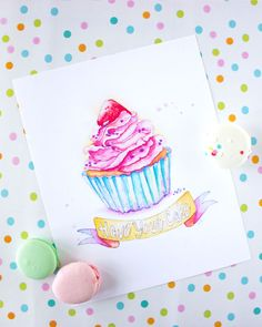 Cupcake Watercolor Print - Cupcake Painting - Have Your Cake Quote Print…