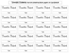 "Free ""Terrific Tickets"" for a Class Raffle! -- Behavior incentives for the end-of-the-school year or year-round."