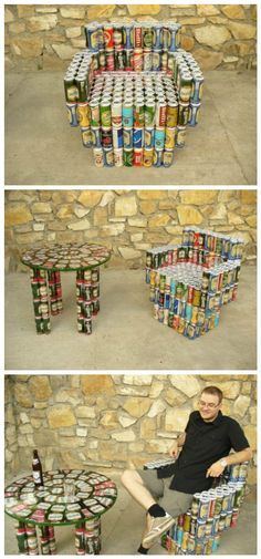 #Armchair, #Beer, #Cans, #Recycled, #Table I have completed a furniture made of beer cans. The chair has 261 in it (weight 4.8kg), and the table has 92. Collecting the material was quite fun, but I had some helpers, so I did not have to drink 176.5 liters on my own!