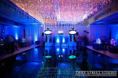 Bat Mitzvah Dance Floor with Hanging Icicle Lights (Hotel Ballroom Transformation by The Event of a Lifetime) - mazelmoments.com