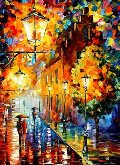 Lights In The Night — PALETTE KNIFE Oil Painting On Canvas By Leonid Afremov #AfremovArtStudio #afremov #art #painting #fineart #stunning #paletteknife #canvas