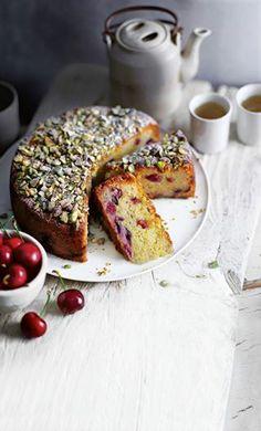 cherry, pistachio & marzipan cake.