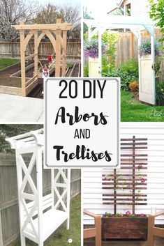Looking for arbor or trellis ideas for your garden? Here are 20 amazing options to give your climbing vines the support they need to grow and thrive. These easy DIY trellis and arbor projects can have your garden looking amazing in no time! Diy Pergola, Diy Arbour, Building A Pergola, Pergola Ideas, Building A Trellis, Modern Pergola, Pergola Roof, Diy Deck, Arbors Trellis