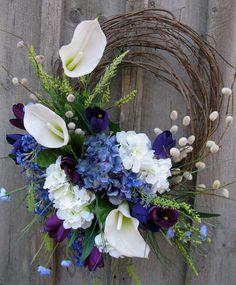 Floral Wreath, Easter, Spring Wreath, Summer, Wedding Decor, Calla Lily. $139.00, via Etsy.