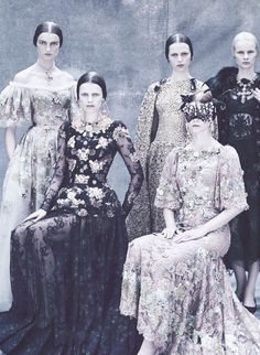 Models wear regal gowns from Dolce & Gabbana Alta Moda Fall/Winter 2013 in the editorial 'The HC's Vagaries' photographed by Paolo Rove...