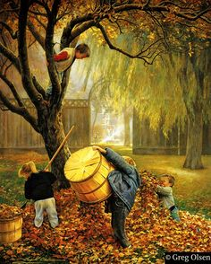 Autumn - art by Greg Olsen Autumn Art, Autumn Leaves, Autumn Harvest, Greg Olsen Art, Munier, Seasons Of The Year, Autumn Inspiration, Happy Fall, Illustrations