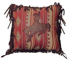 Flying Horse Bronco Throw Pillow