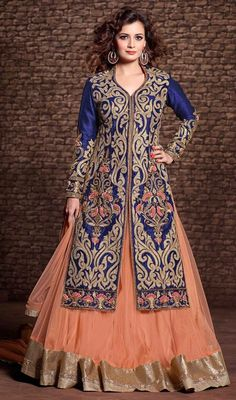 Astound the spectaculars like Dia Mirza in this blue color embroidered silk lehenga choli dress. The ethnic butta, lace, resham and stones work within the dress adds a sign of elegance statement with your look. #bollywood #diamirza #lehengacholidress