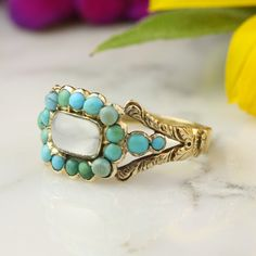 Antique Georgian Moonsone And Turquoise Halo Ring In 14k Yellow Gold