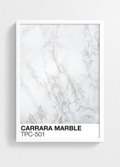 Inspired by the classic design of the Pantone formula guide, our Marble Vignette collection tells a story of authenticity and timelessness with a modern twist. Adding our CARRARA MARBLE TPC-501 art print to your interior will create a glamorous and trendy look.