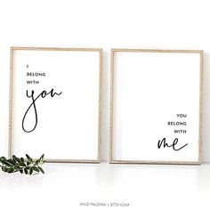 I belong with you You belong with me Printable wall art set of two prints.  Add a touch of romance to your bedroom or living space instantly This printable minimalist typographic quote set is an affordable and fun way to decorate your home. Easy to use and printable in a range of sizes from 5x7 up to A160 x 90 cm.  THIS IS A DIGITAL ITEM.  Ready to download on your computer once your payment is confirmed. No waiting no shipping fees. After checkout Etsy will redirect you to the downloads… Artwork Above Bed, Cool Pictures, Beautiful Pictures, You Belong With Me, Kunst Poster, Wall Art Sets, Minimalist Home, Printable Wall Art, Decorating Your Home