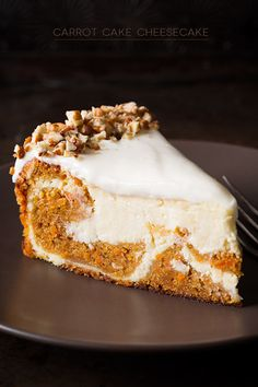 Two of my favorite cakes come together to make the ultimate dessert, this decadent carrot cake cheesecake. If you like carrot cake or cheesecake, this is the best of both. Carrot Cake Cheesecake, Cheesecake Recipes, Dessert Recipes, Strawberry Cheesecake, Samoa Cheesecake, Coconut Cheesecake, Cheesecake Cupcakes, Savoury Cake, Just Desserts