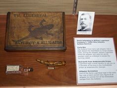 "The box was once owned by William Lugenbeal, 135th Ohio Volunteer Infantry, who wrote in his memoirs in the Chester Berry book that he survived the disaster by killing the Sultana's mascot alligator with a bayonet and then floated to safety in the pet's sturdy wooden crate. Known as the ""alligator killer,"" the top of Lugenbeal's curio box is adorned with an etching of an alligator and contains the words ""Wm. Lugenbeal saved by a alligator"