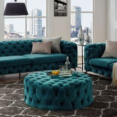 Corvus Tufted Velvet Round Ottoman with Casters (Teal), Green (Foam) Living Room Decor Green Couch, Glam Living Room, New Living Room, Living Room Sofa, Interior Design Living Room, Living Room Designs, Couch With Ottoman, Ottoman Decor, Round Ottoman