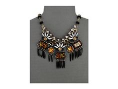Betsey Johnson Hollywood Glam Leopard Stone Black Spike Frontal Necklace