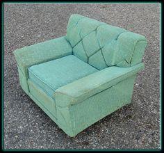 Vintage 50's Mid Century Modern - Aqua Upholstered Arm Lounge Chair NICE! | eBay $199